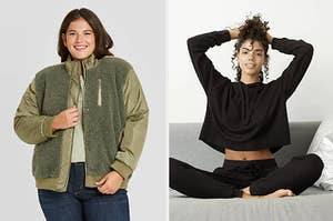 on left model wearing green sherpa jacket and on right model wearing black sweater