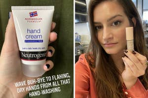 on left bottle of Neutrogena hand cream and on right BuzzFeed Editor wearing undereye concealer