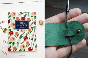 a floral bill tracker journal and a cable organizer