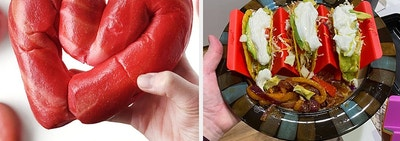 On left, hand holds heart-shaped bagel. On right, hand holds plate with red taco holder