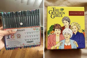 fine point drawing pens and the golden girls magnet set