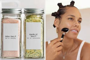 on left two jars with sea salt and garlic salt labels and on right Alicia Keys using obsidian face roller
