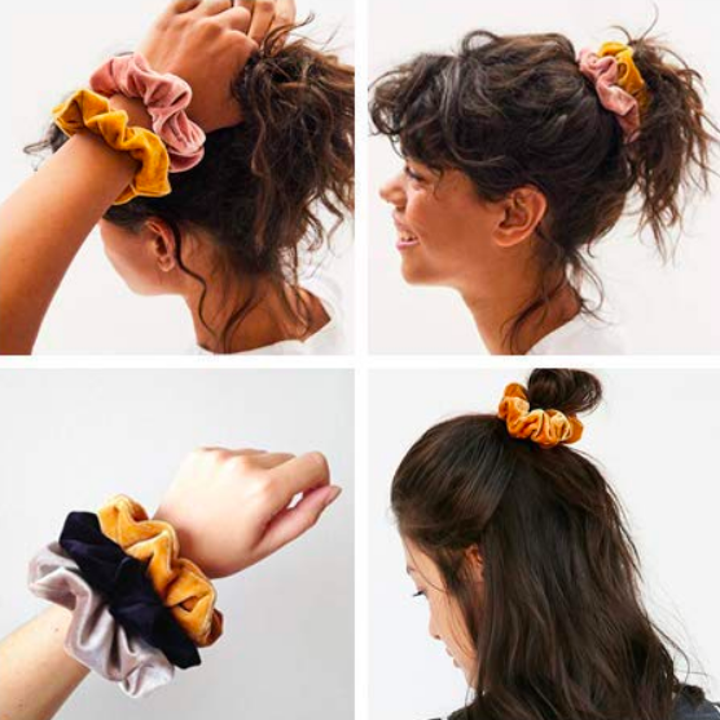 Four images of a person wearing several scrunchies on their wrist, in their hair as a ponytail, and with their hair half up