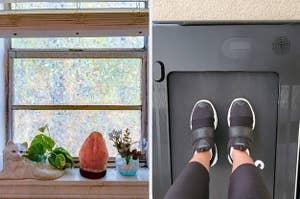 On left, iridescent privacy film on bathroom window. On right, feet on foldable treadmill