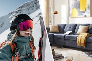 On left, model wears dark green jacket while skiing. On right, gray convertible sofa with ottoman and yellow pillows