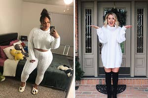 left image: reviewer wearing matching sweater lounge set, right image: reviewer wearing oversized sweater dress