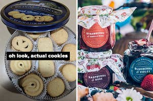 on left reviewer photo of Danish cookies and on right three jars of jam