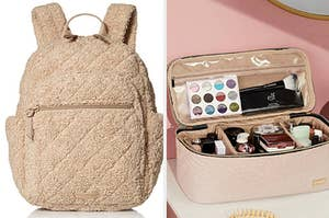 left image: sherpa backpack, right image: cosmetics case