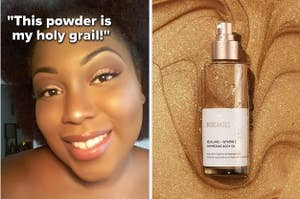 left image: reviewer setting makeup with coty powder with a quote about how it's their holy grail powder, right image: biossance shimmering body oil