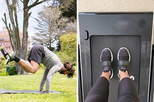 On left, model uses TRX suspension system to pike on a mat. On right, reviewer places feet on foldable treadmill