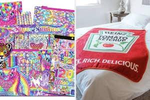 left image: lisa frank stationary set, right image: ketchup blanket