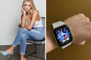 left image: model wears good american jeans, right image: reviewer wearing apple watch