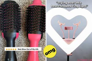 left image: revlon blow out tool, right image: heart shaped ring light