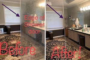 a before and after photo for a hard water remover