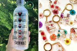 a disney water bottle and floral resin letter keychains
