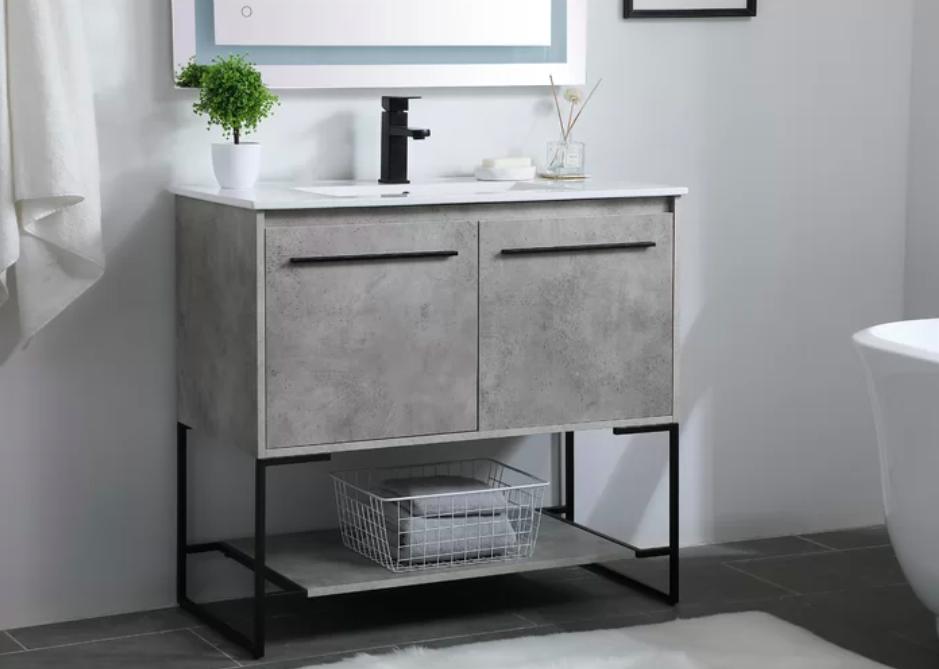 "The Aminata 36"" Single Bathroom Vanity Set in concrete"