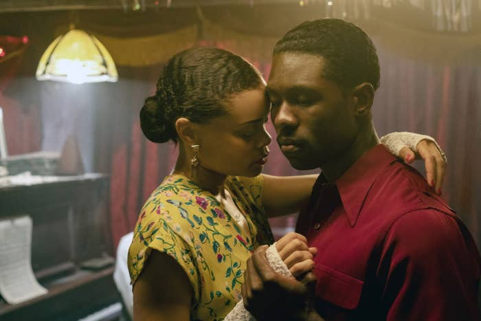 Andra Day and Trevante Rhodes slow dancing in a club in The United Staes Vs. Billie Holiday