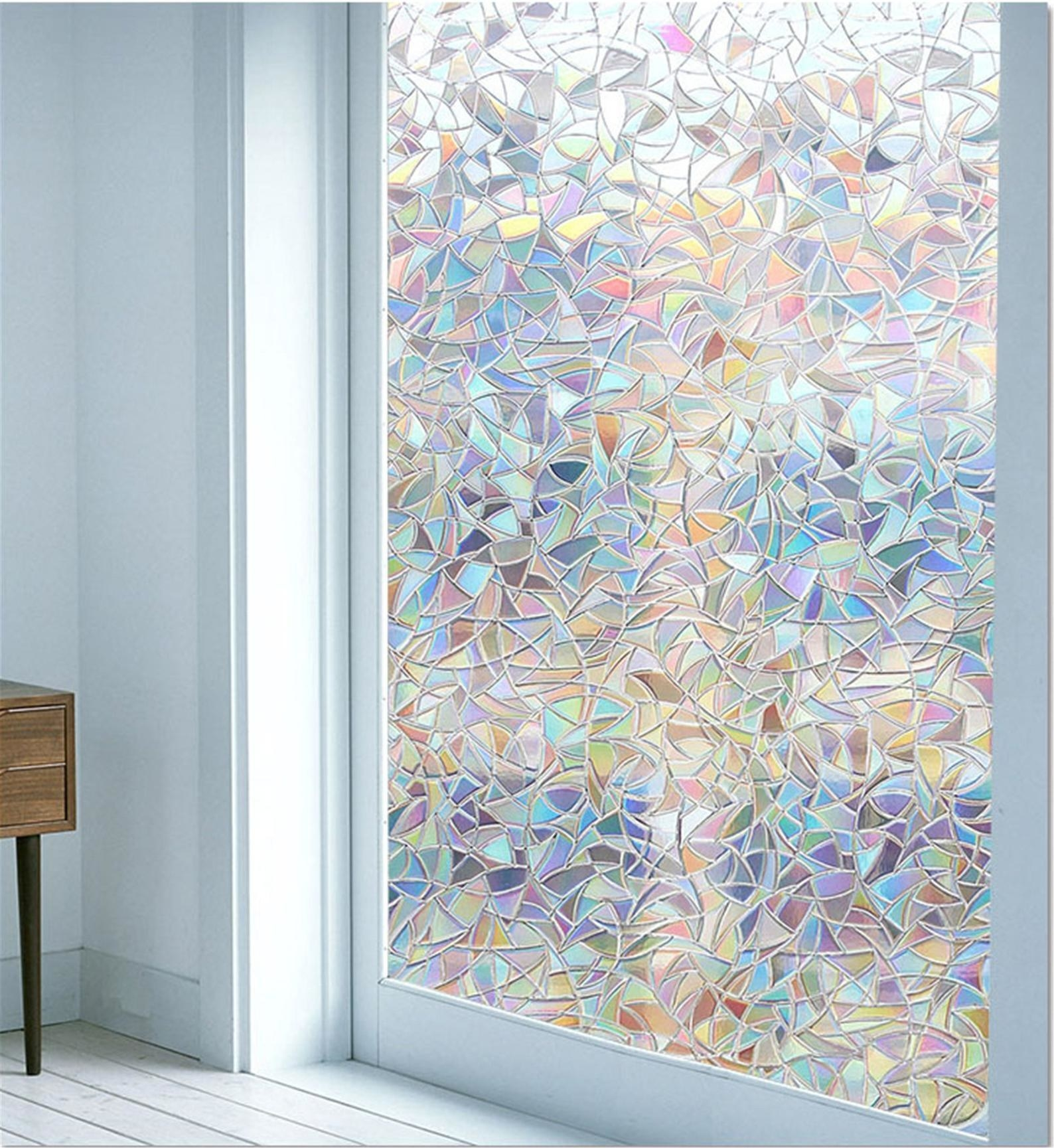 The window film showing an array of colors as light shines through