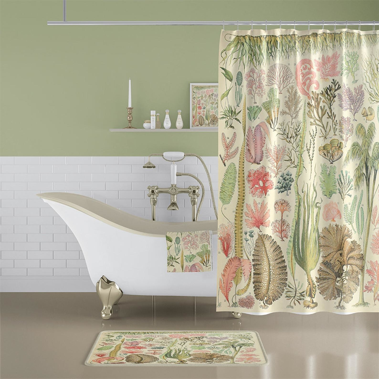 The matching shower curtain, bathmat, and towel in a bathroom