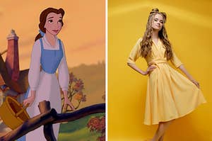 Belle next to a woman in a yellow dress