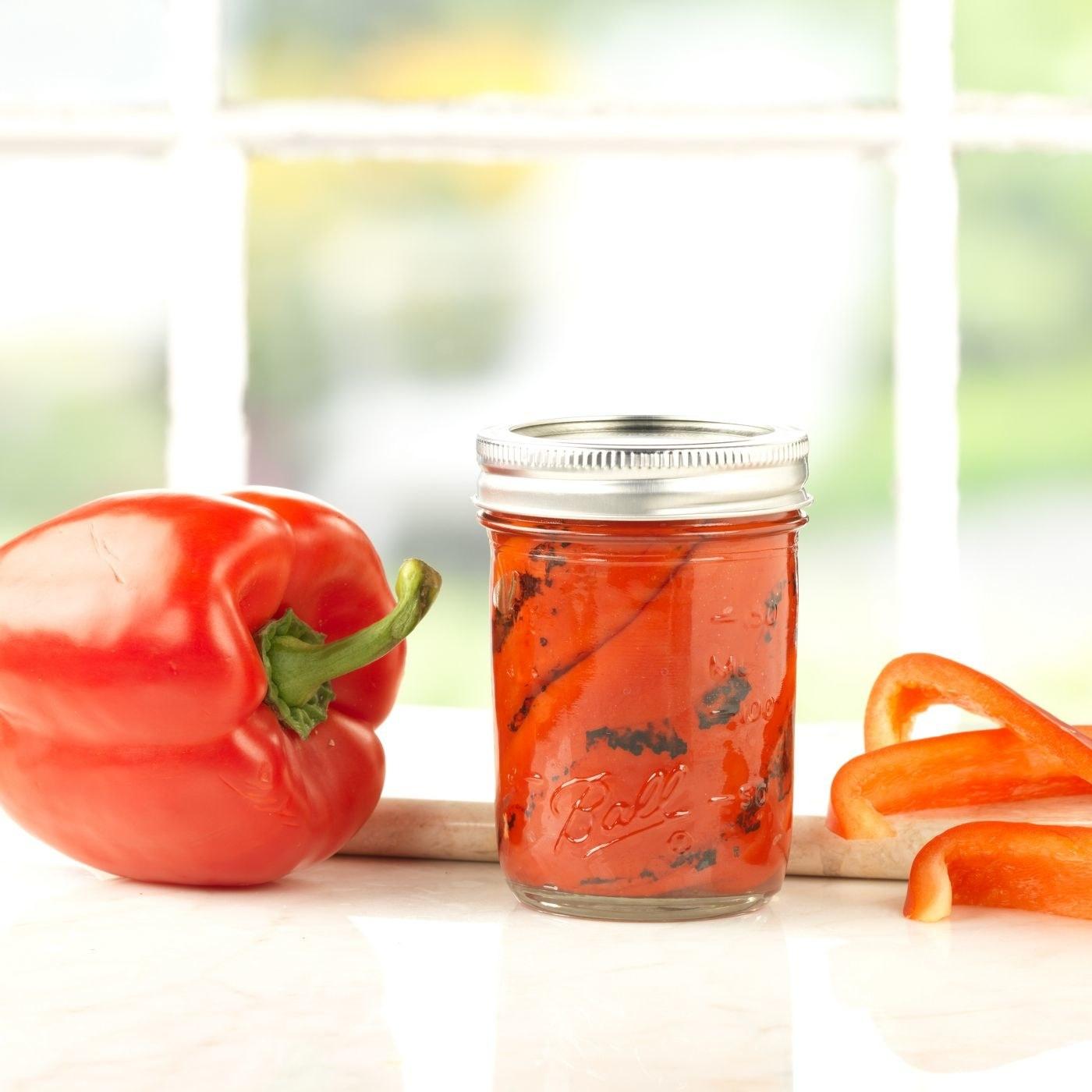 Roasted pepper in a mason jar in a home