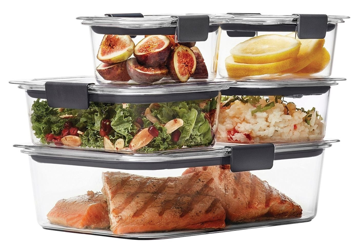 A 10-piece set of dishware with food in it