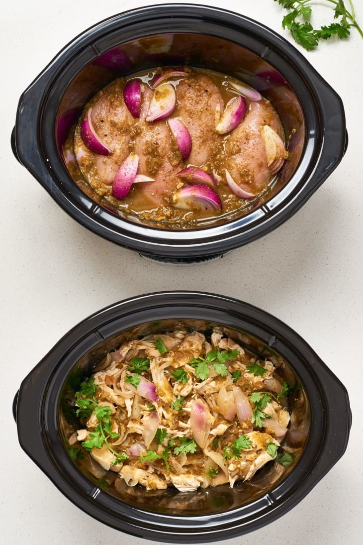 A before and after shot of slow cooker salsa chicken.