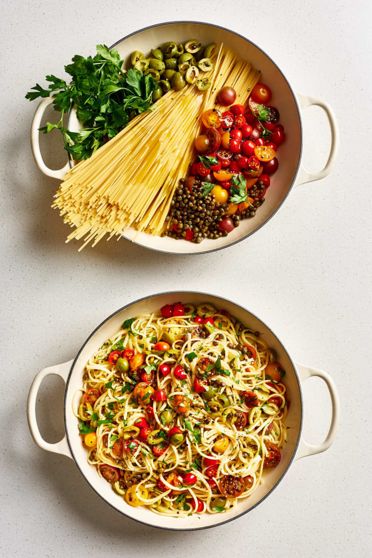 A before and after shot of one-pot puttanesca pasta.