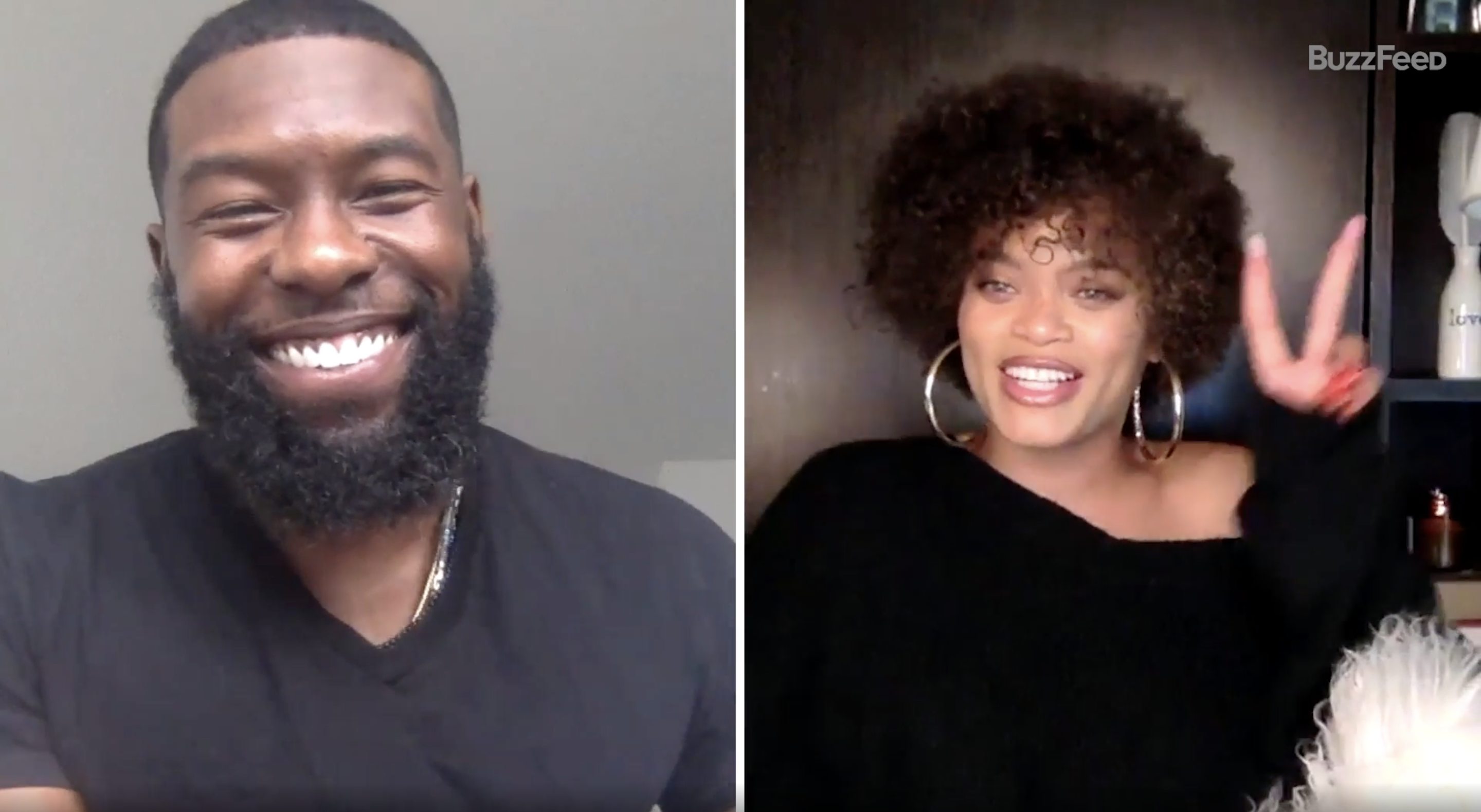 Trevante smiling and Andra giving the peace sign during their BuzzFeed interview