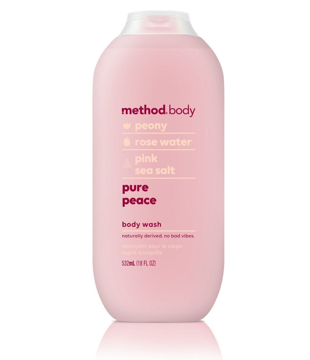 """A """"peace"""" scented pink body wash"""