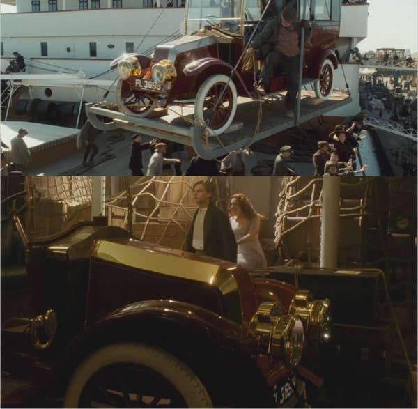 1912 Renault Type CB Coupe de Ville saat diangkat ke atas kapal, lalu ketika Rose dan Jack menemukannya di ruang kargo kapal