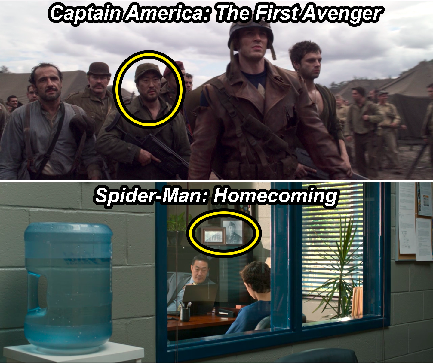 Jim Morita alongside Captain America in The First Avenger and a portrait of Jim in Principal Morita's office in Homecoming