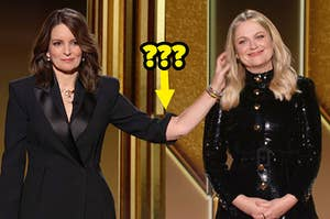 Tina Fey with a freakishly long arm reaching out to touch Amy Poehler while they host the Gold Globes from opposite coasts