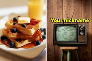 A stack of waffles are on the left with a television on the right labeled,