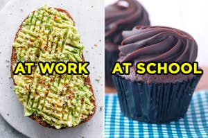 On the left, a slice of avocado toast labeled
