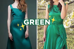 """On the left, someone wearing a dress with a high waist and thick straps, and on the right, someone wearing a high-neck gown with a tie at the waist with """"green"""" typed in the middle and sparkle emojis placed around the dresses"""