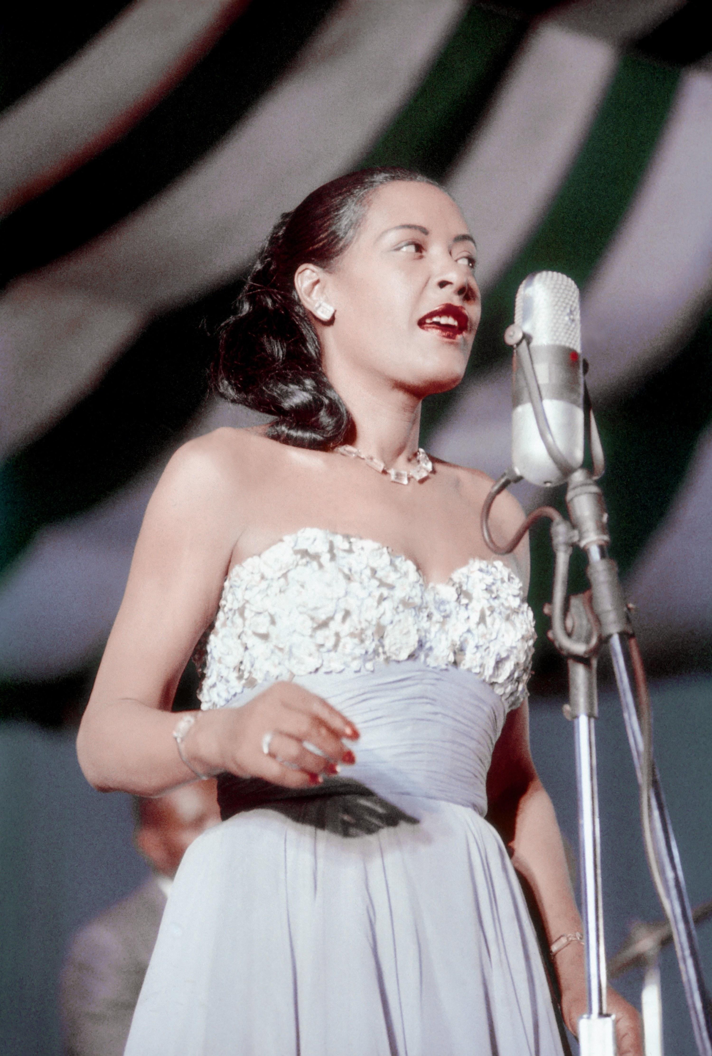Billie Holiday performing at Newport Jazz Festival