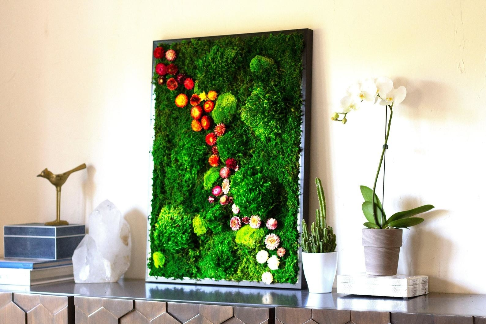 the bright green moss and floral display