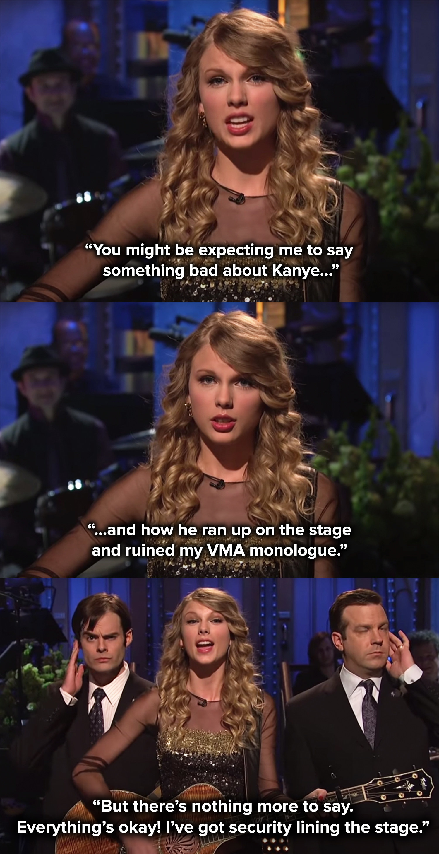 Taylor sings that she doesn't have to worry about Kanye at SNL