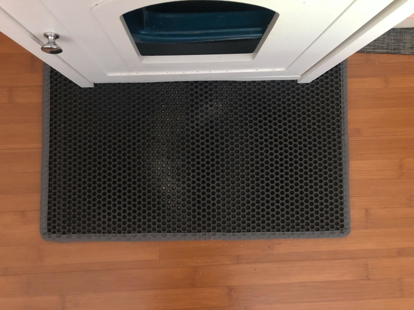 Reviewer's photo of the cat litter mat on the floor outside a litter box
