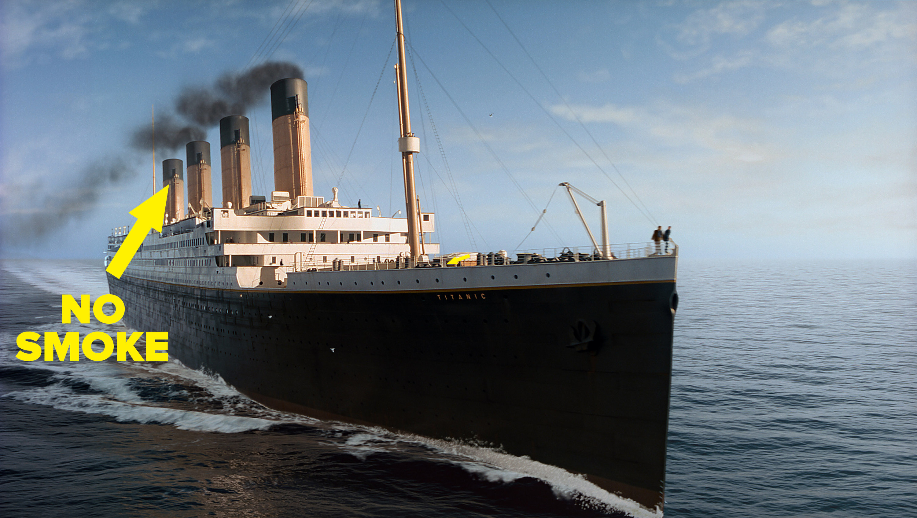 The titanic setting sail, and the fourth smoke stack is highlighted to show less smoke