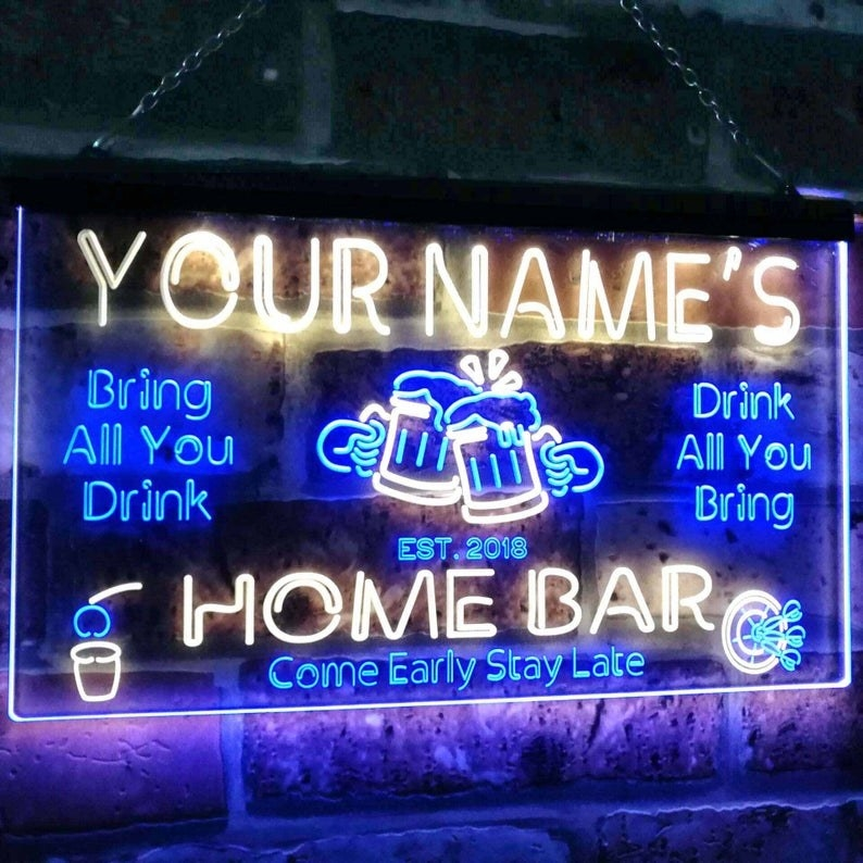 "a example blue neon sign that says ""Your name's home bar"""