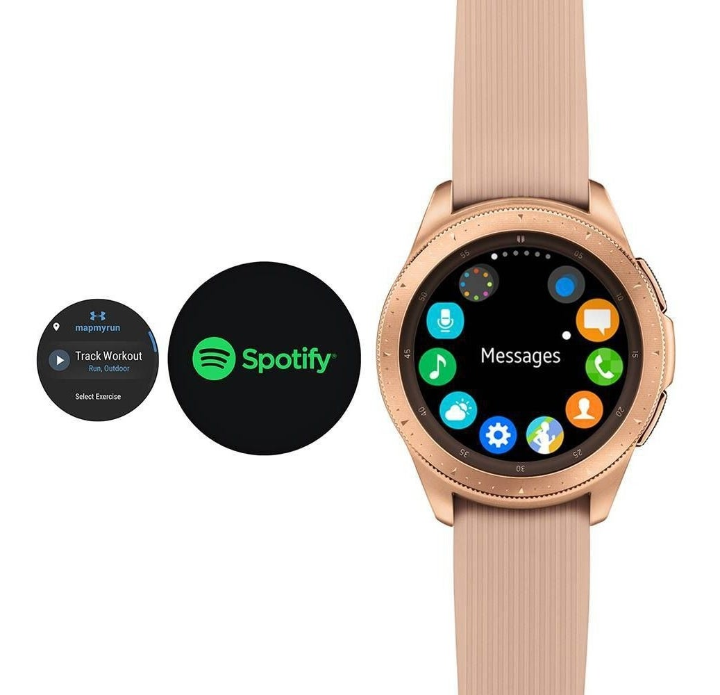 A photo of a rose gold smartwatch