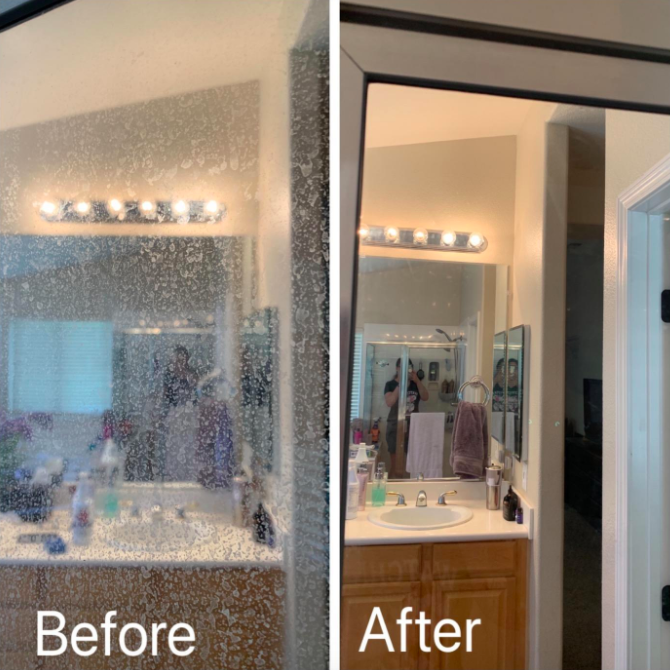 A customer review before and after photo showing the results of the hard water stain remover