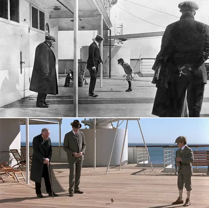 An actual photo of a boy spinning a top on the deck of the titanic, and a scene from the movie based on the photo