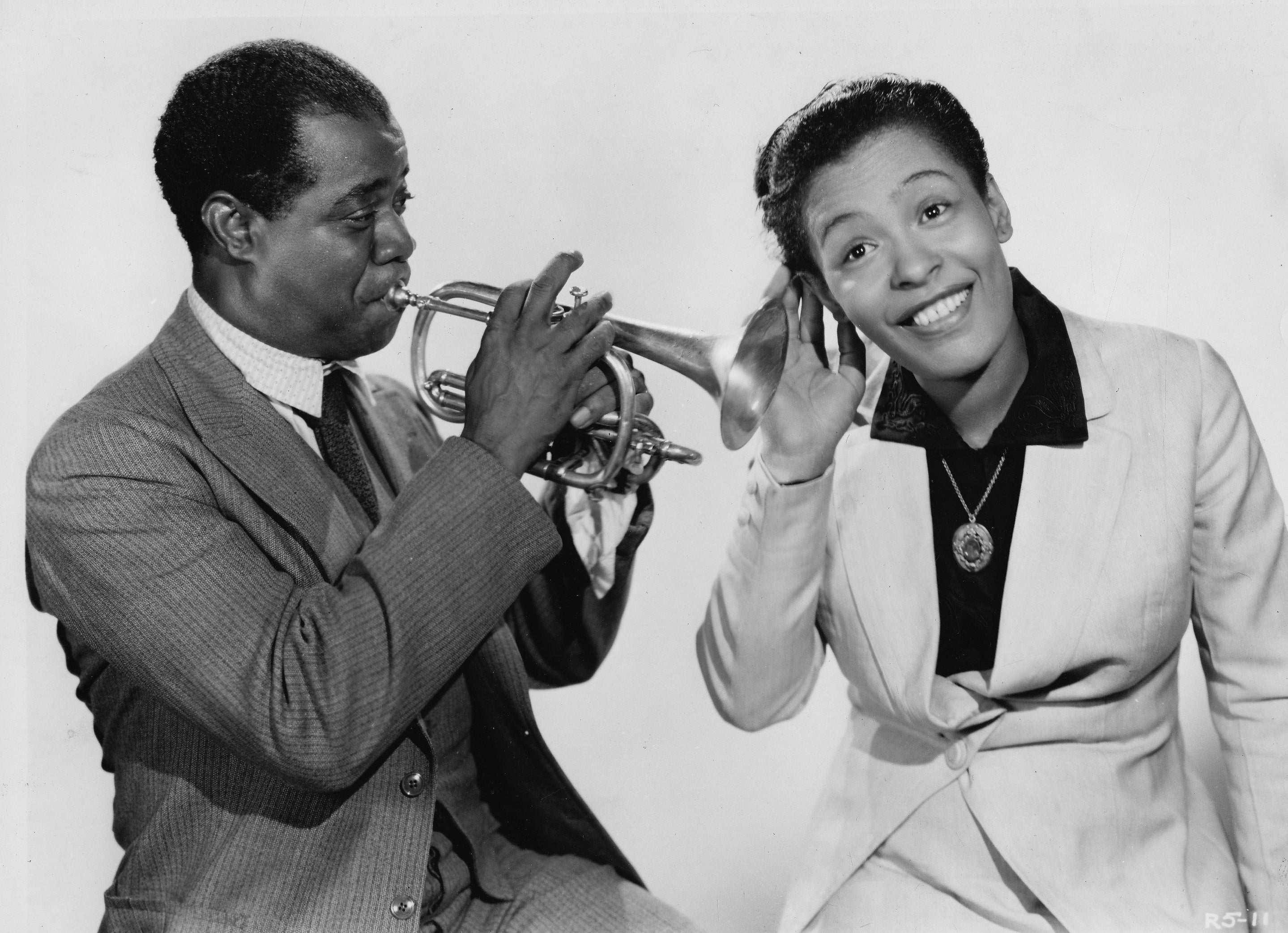 Portrait of Billie Holiday with Louis Armstrong