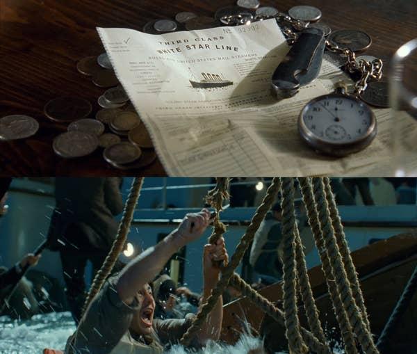 Pisau tergeletak di atas tiket Titanic, dan Fabrizio menggunakannya untuk memotong tali