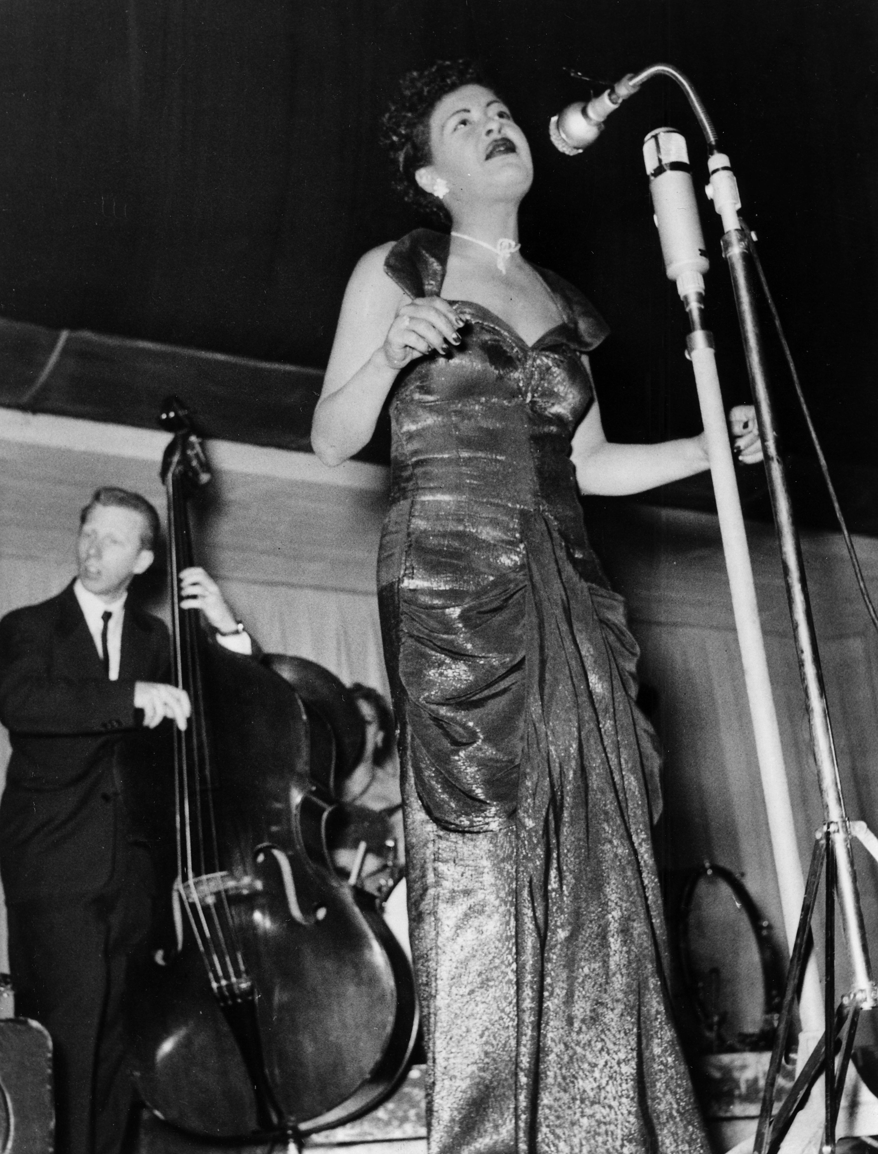 Billie Holiday giving a concert in the 1950s