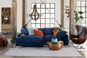 wide reversible sofa and chaise in blue