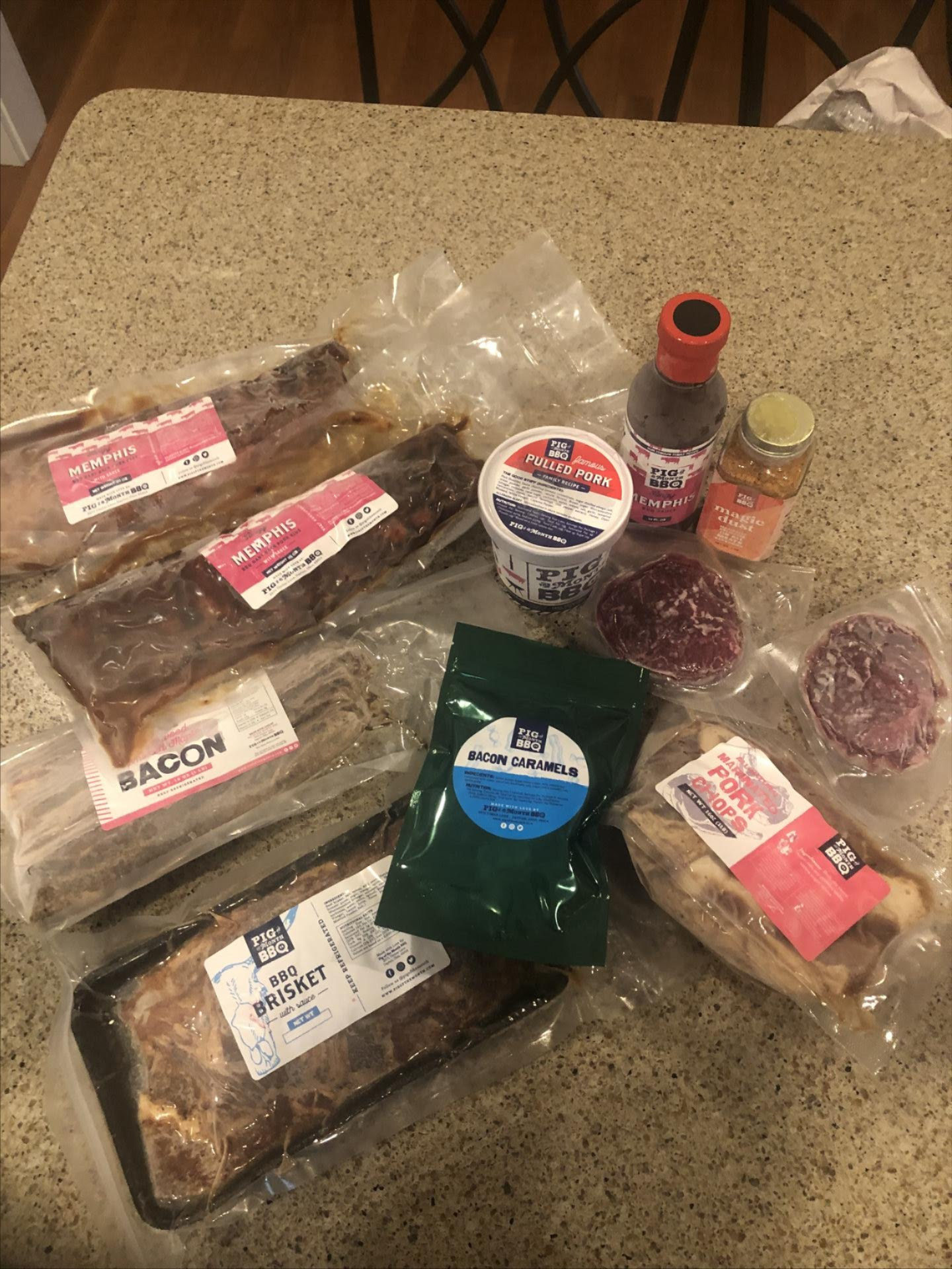 elizabeth's brisket, bacon, pulled pork, ribs, bacon caramels, sauces, and other treats from the subscription